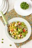 Dining salad: corn, peas, mushrooms, broccoli and crab sticks Stock Images