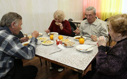 Dining for seniors Stock Image