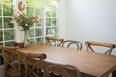 Dining Set Of Classical Wooden Furniture Royalty Free Stock Images