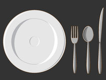 Dining Set - Plate, Fork, Spoon & Knife Stock Images