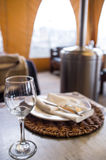 Dining set-up. Prepared for lunch inside of spacy restaurant Stock Photo