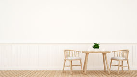 Dining set wooden design - 3D Rendering. For artwork and background Royalty Free Stock Photo