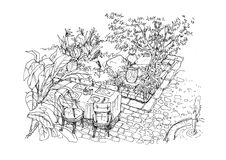 Dining settiing in the garden scene hand drawing illustration Royalty Free Stock Images