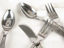 A dining silverware. On a table Royalty Free Stock Photo