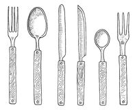 Dining or snack fork for oysters, ice cream spoon and knife for dessert or butter and baking. kitchen utensils, cooking. Stuff for menu decoration. engraved vector illustration