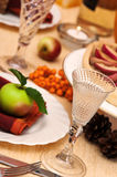 Dining Table. Decorated and set for thanksgiving meal Royalty Free Stock Photo