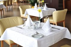 Dining table. Setting in a restaurant Royalty Free Stock Photography