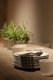 Dining table. A family (or restaurant) dining table that has yet to be set Stock Image