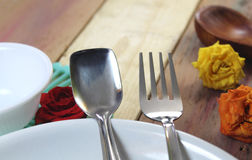 Dining table background Stock Photos