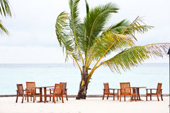 Dining table on beach in maldives resort Royalty Free Stock Photo