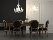 Dining table and beautiful white chandelier Stock Photos