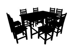 Dining table black. Dining table This is a black and white image Shown to be featured Stock Photography