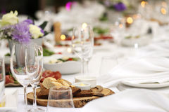 Dining table at a celebration royalty free stock photos
