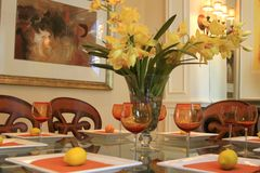 Dining Table with Centerpiece Stock Photography