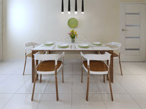 Dining table chairs modern style Royalty Free Stock Image