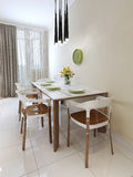 Dining table chairs modern style Stock Images