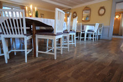 Dining table and chairs in an old resturant Royalty Free Stock Photos