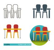 Dining table and chairs. Vector icons Stock Photo