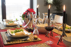 Dining table. During christmas table Stock Photos