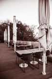 Dining table on city terrace.  Stock Images
