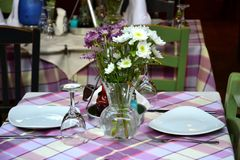 Dining table in Greece, Europe royalty free stock images