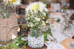 Dining table decoration wedding day Royalty Free Stock Images