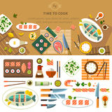 Dining table with dishes. In top view. Restaurant asian cuisine: chef prepares sushi and fish. Devices for cooking, kitchenware. Vector flat illustration royalty free illustration