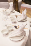 Dining table and equipment. Royalty Free Stock Photography