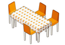 Dining table with flowered tablecloth and chairs. Stock Image