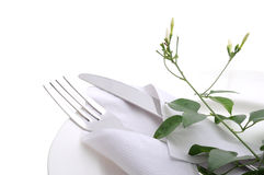 Dining table. With fork and knife Royalty Free Stock Photography