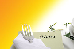 Dining table. With fork and knife royalty free stock images
