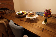 Dining table. With fruits and cookies Stock Photo