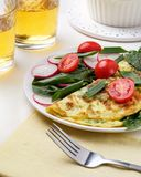 Dining table. Homemade spinach Taco radish omelet on white table, Mexican cuisine stock photos