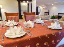Dining table in hotel Stock Photo