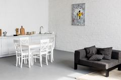 dining table on kitchen at modern royalty free stock photography