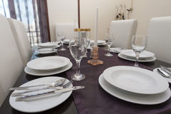 Dining table in a luxury apartment Stock Image