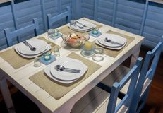 Dining Table with Marine Style Setup Royalty Free Stock Image