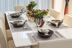 Dining table in modern home Stock Image