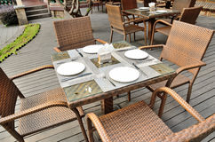 Dining table. The open air restaurant table Stock Photo