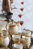 Dining table with Porcelain tea cup set Royalty Free Stock Photography