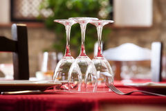 Dining table ready for customers stock images
