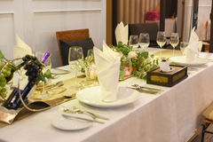 Dining table. A dining table restaurant set Stock Photography