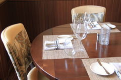 Dining table at restaurant Stock Photos