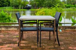 Dining table Riverside royalty free stock images