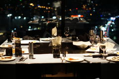 Dining table after romantic dinner. Dining table after dinner. empty Table of after romantic dinner Royalty Free Stock Image