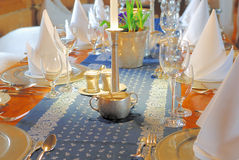 Dining table set. A festive dining decoration, luxury tabel set royalty free stock image
