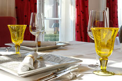 Dining table set. A festive dining decoration, luxury tabel set Royalty Free Stock Photography