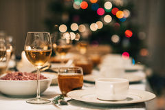 Dining table set for Christmas dinner Royalty Free Stock Images