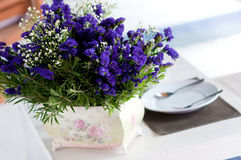 Dining table set with flower. Closeup of the dining table set with dish and flower Stock Image