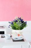 Dining table set with flower Stock Photos